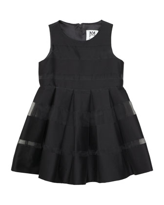 Striped Fil Coupe Dress, Black, Size 8-14