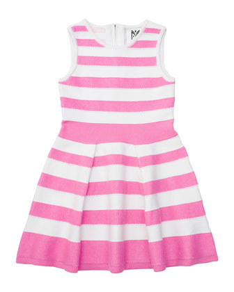 Striped A-Line Knit Dress, Candy, Size 8-14