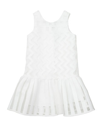 Illusion Fil Coupe Dress, White, Size 8-14