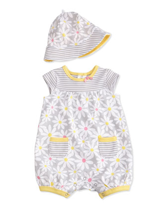 Cap-Sleeve Daisy Playsuit, Gray/Yellow, Size 3-18 Months