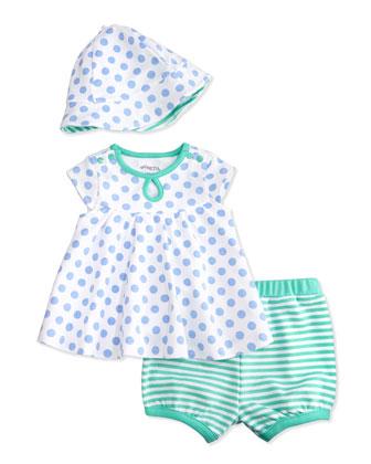 Polka Dots & Stripes Dress Set, White/Blue/Green, Size 3-24 Months
