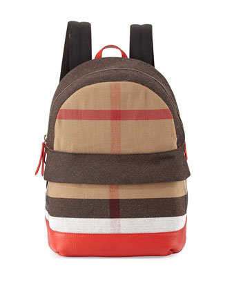 Children's' Leather-Trim Canvas Check-Print Backpack, Bright Military ...