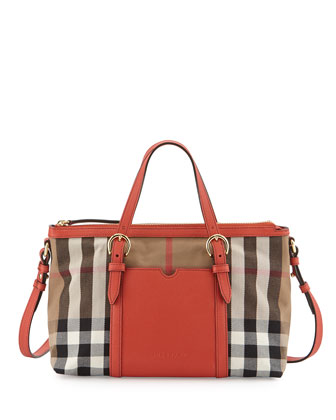 Girls' Canvas Check Mini Tote Bag