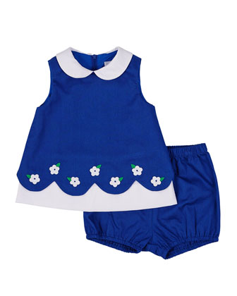 Fine-Wale Pique Shift Dress & Bloomers, Royal/White, Size 3-24 Months