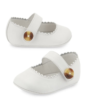 Newborn Leather Mary Jane, Optic White