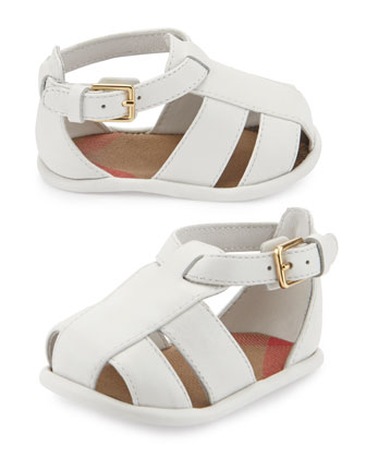 N1-Ruislip Newborn Leather Strappy Sandal, Optic White