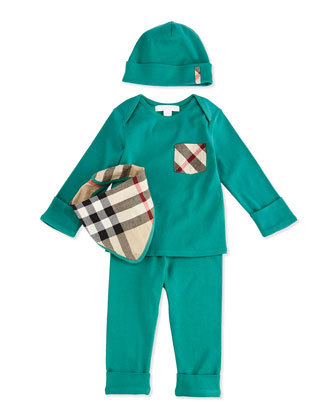 Stretch-Knit Four-Piece Boxed Gift Set, Aqua Green, Size 3M-3Y