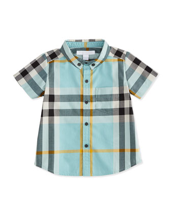 Short-Sleeve Check Poplin Shirt, Pale Cyan Green, Boy's Sizes 3M-3Y
