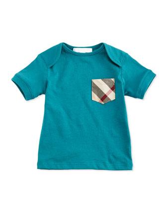 Check-Pocket Jersey Tee, Light Peridot, Size 3M-3Y