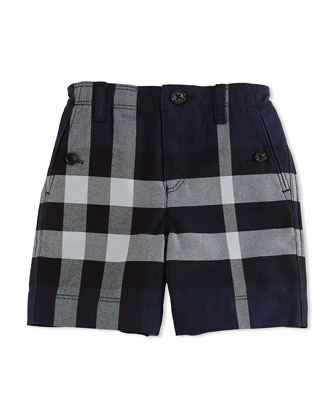 Cotton Check Shorts, Navy