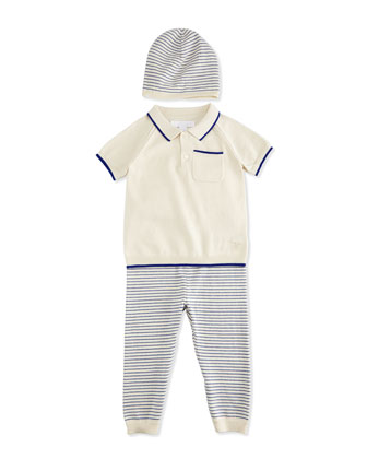 Conny Fine-Knit Shirt, Pants & Baby Hat Boxed Gift Set, Bright Lapis/Cream, ...