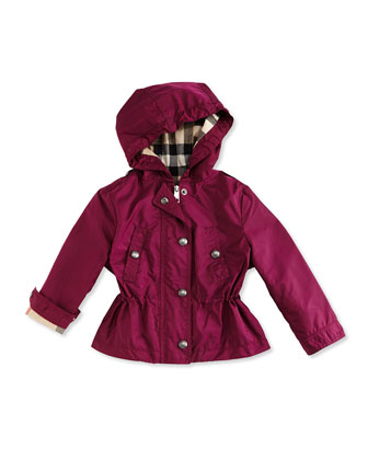 Hooded Cinched-Waist Jacket, Deep Fuchsia