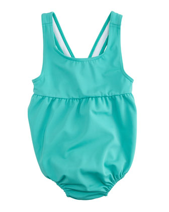 Racerback One-Piece Swimsuit, Aqua Green, Size 3M-3Y