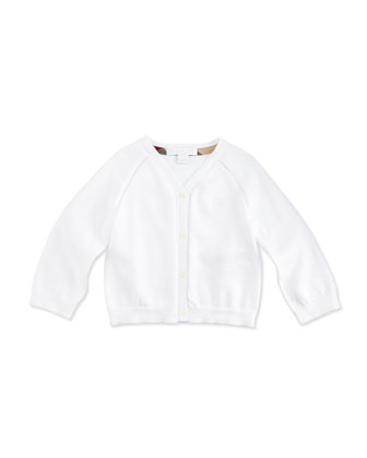 Long-Sleeve Raglan Cardigan, White, Size 3M-3Y