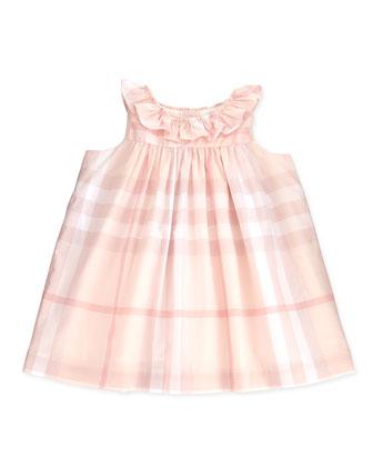 Ruffle-Collar Check Dress, Ice Pink, 3-24 Months