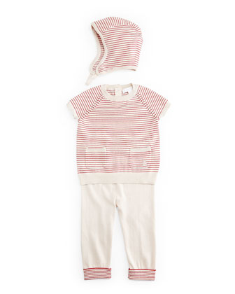 Girls' Fine-Stripe 3-Piece Boxed Gift Set, City Pink, Size 3-18 Months
