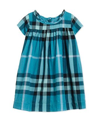 Ruffle-Neck Dress, Topaz Blue, Size 3M-3Y