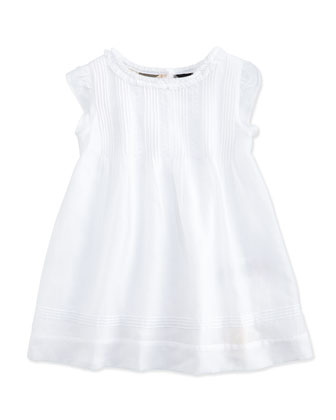 Pintuck Dress, White, Girls' Sizes 3M-3Y