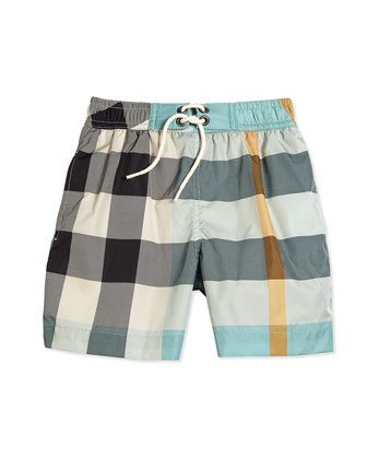 Check Swim Trunks, Pale Cyan/Green, Size 4-14