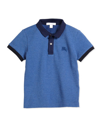 Short-Sleeve Pique Polo Shirt, Jet Blue, Size 4Y-14Y