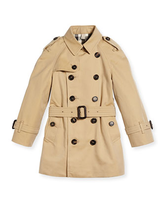 Raglan-Sleeve Trench Coat, Honey, Size 4Y-14Y