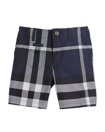 Cotton Check Shorts, Navy, Size 4Y-14Y