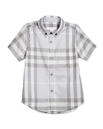 Short-Sleeve Check-Print Oxford Shirt, Gray/White, Size 4Y-14Y