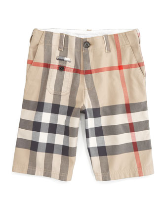 Percy Cotton Check Shorts, New Classic, Size 4Y-14