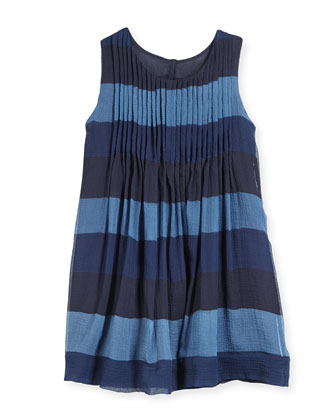 Broad Horizontal-Stripe Dress, Indigo, Size 4Y-14Y