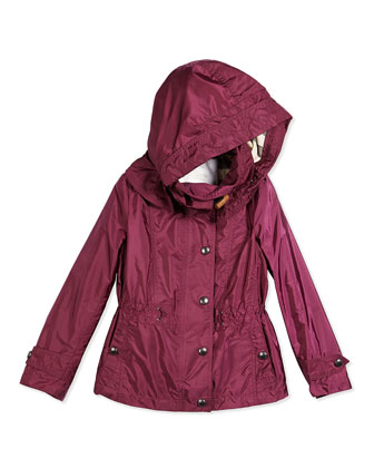 Lightweight Hooded Jacket, Deep Fuchsia, Size 4Y-14Y
