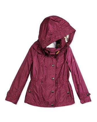 Lightweight Hooded Jacket, Deep Fuchsia, Size 4Y-14Y
