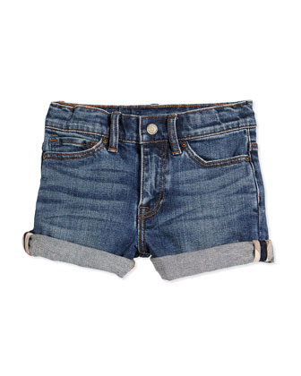 Stretch-Knit Denim Shorts, Indigo, Size 4Y-14Y