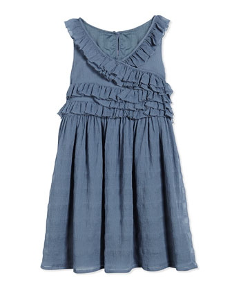 Finola Ruffled Sleeveless Dress, Stone Blue, Size 4-14