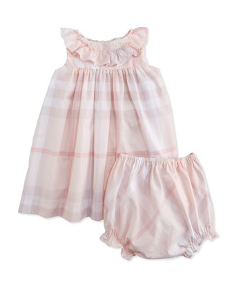 Sleeveless Check Sundress, Ice Pink, Size 3M-3Y