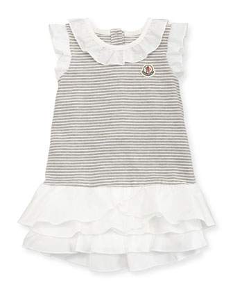 Short-Sleeve Pique Striped Dress, Gray/White, Size 3-24 Months