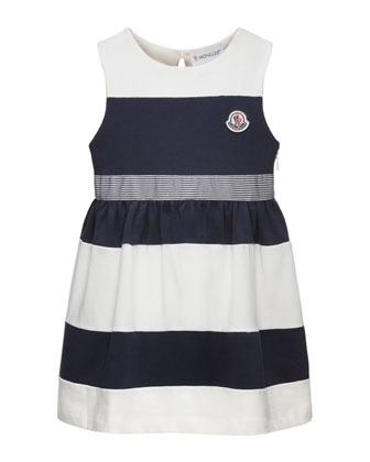 Striped Stretch Jersey Dress, White/Navy, Size 2-6