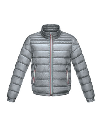 Daniel Long Zip-Front Puffer Jacket, Gray, Size 2-6