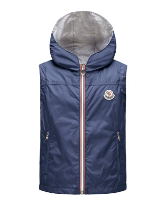 Deneb Jersey-Lined Hooded Vest, Dark Blue, Sizes 8-14
