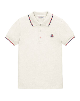 Tipped Pique-Knit Cotton Polo, Sizes 8-14