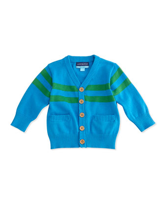 Striped Cotton Cardigan, Aqua, Size 3-24 Months