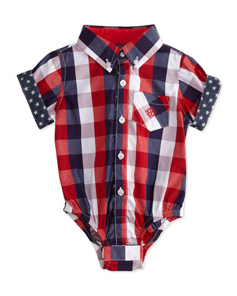 Buffalo Check Shirtzie Playsuit, Red, Size 3-24 Months