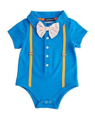 Polo Shirtzie Playsuit, Blue, Size 0-24 Months
