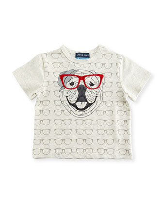 Glasses-Print Bulldog Jersey Tee, Gray, Size 2T-7Y