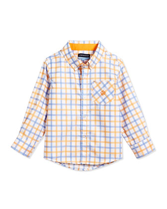 Large Check Long-Sleeve Shirt, Orange, 2T-7Y