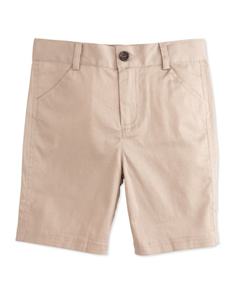 Khaki Twill Shorts, Beige, Size 2T-7Y