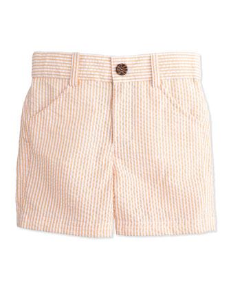 Striped Seersucker Shorts, Orange, Size 2T-7Y