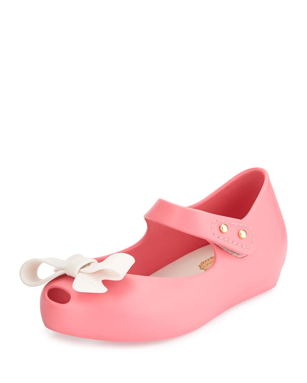 Mini Ultragirl Bow Jelly Flat, 5T-10T, Size: 7, Black - Melissa Shoes