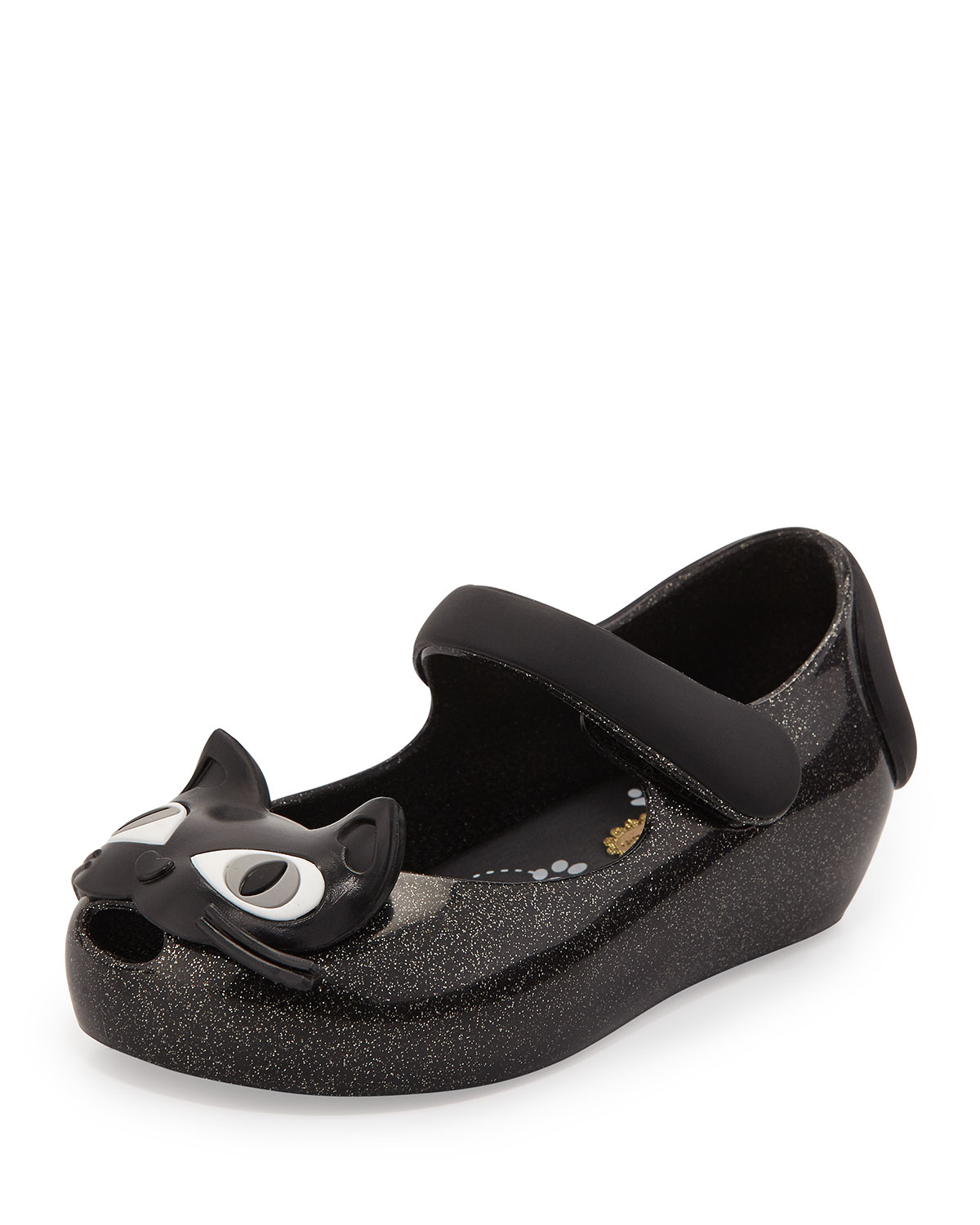 Mini Ultragirl II Cat-Face Jelly Mary Jane, Sizes 5T-10T, Size: 10, Black - Melissa Shoes
