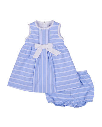 Sleeveless Ribbon-Striped Sundress, Blue/White, Size 3-24 Months