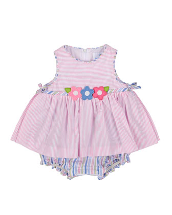 Striped Seersucker Play Dress, White/Pink, Size 3-24 Months
